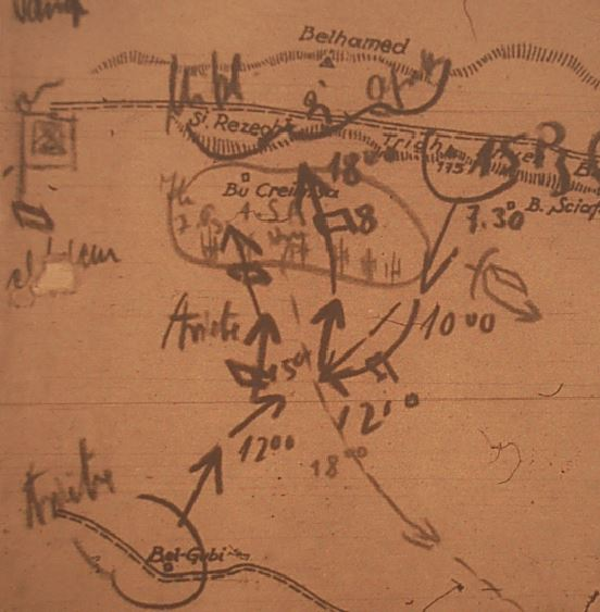 Map of the battle of Totensonntag from the Afrikakorps war diary.  Lighter text and drawing showing Empire troop positions.
