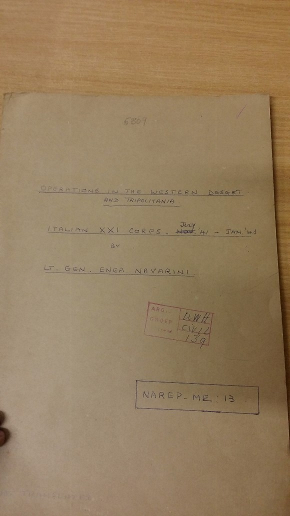 Operations of Italian XXI Corps in the Western Desert and Tripolitania  – Report by Lt. Gen. Enea Navarini