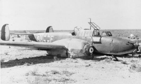 Me 110E ZG26 shot down near Tobruk 1941